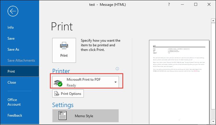select Print option