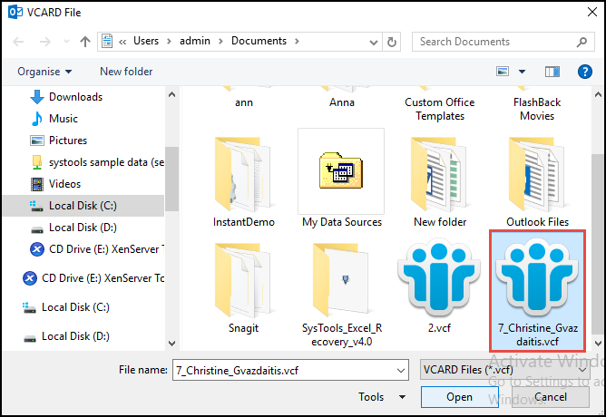 browse VCF file that your want to export