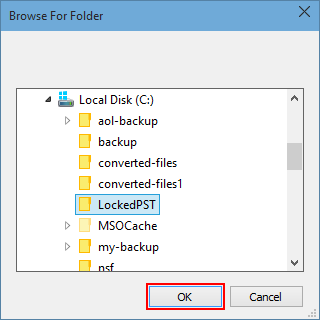 Select desired folder and click OK button