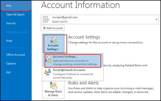 select Account Settings