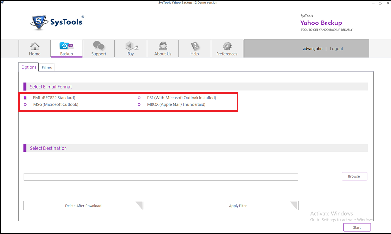 select Outlook PST format