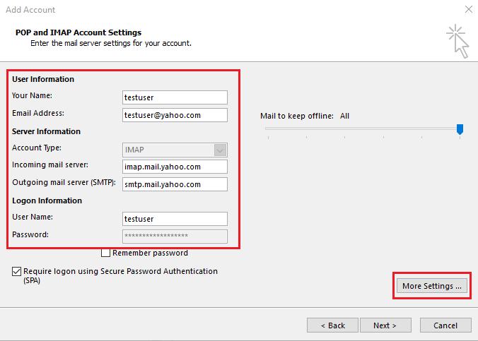enter Yahoo user/ server information