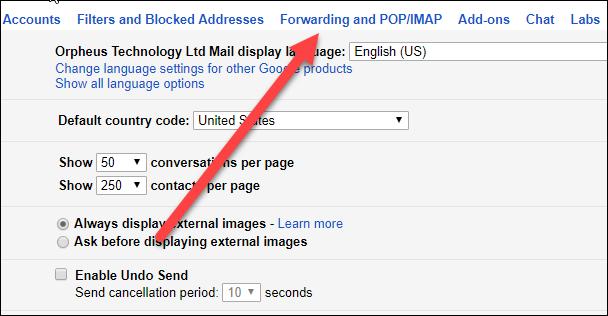 forwarding IMAP/POP