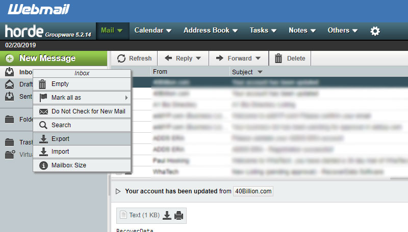 export email from cpanel