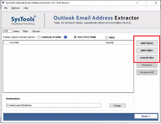 save mail address from Outlook