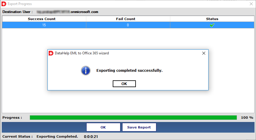 EML to Office 365 completed