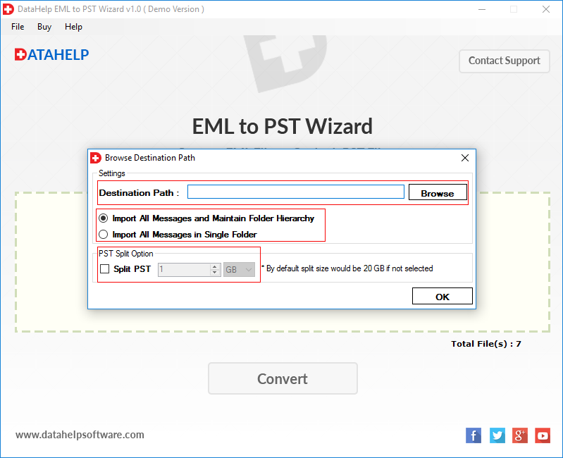 DataHelp EML to PST Converter Tool to Convert EML File/ Files With  Attachments into Outlook PST Format