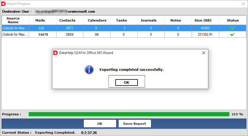 Export OLM to Office 365 completed
