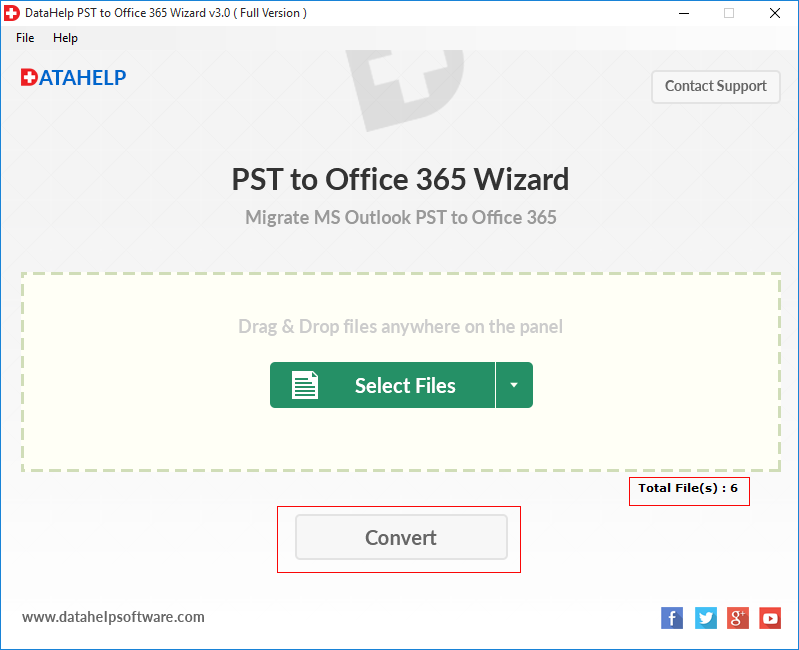 click convert button to start PST file migration process