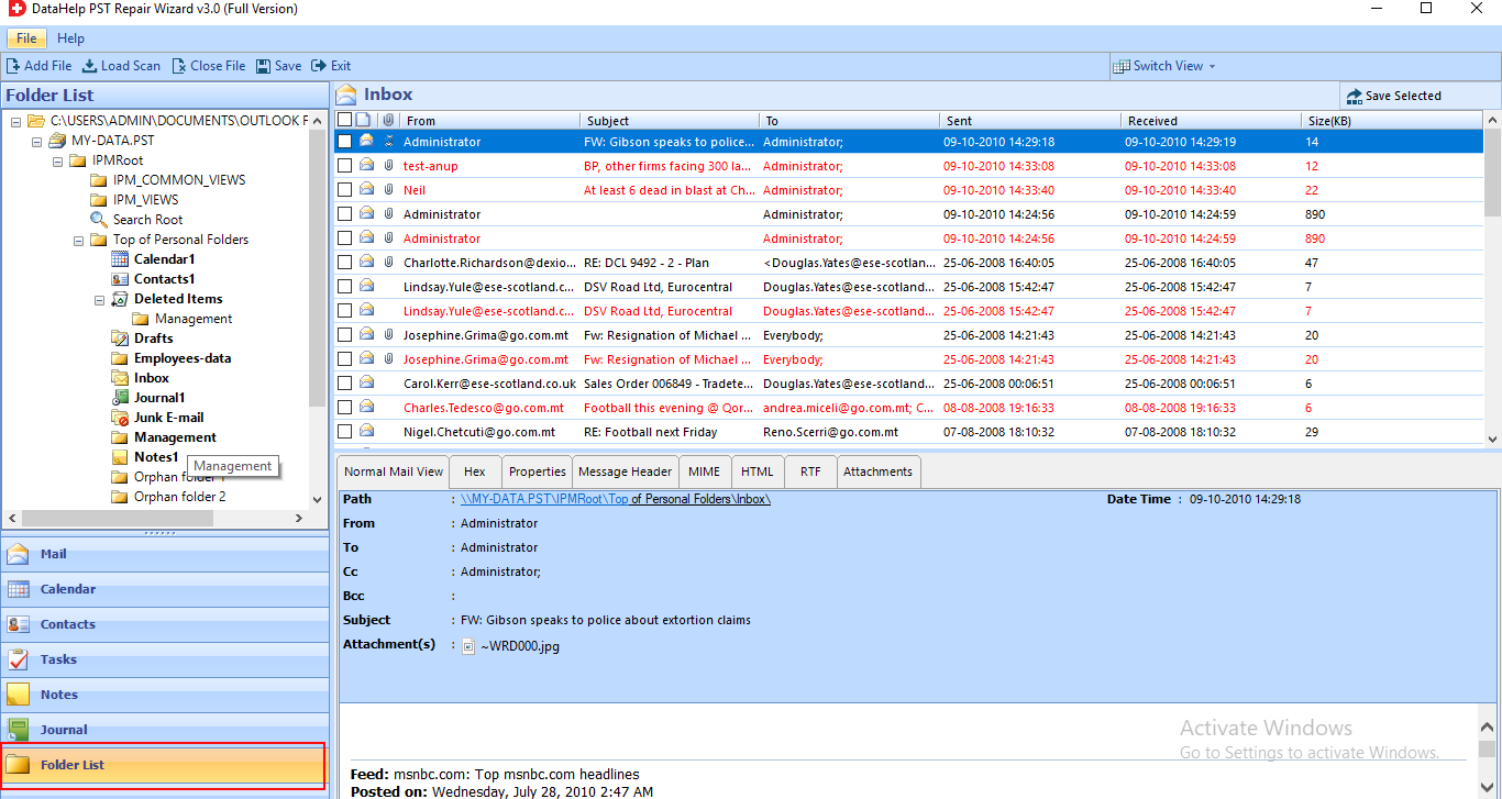 In Preview window, browsing data from selected file
