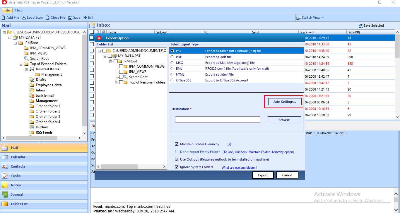 Adv. Setting for Outlook gives Error 0x800ccc78 When Sending Email