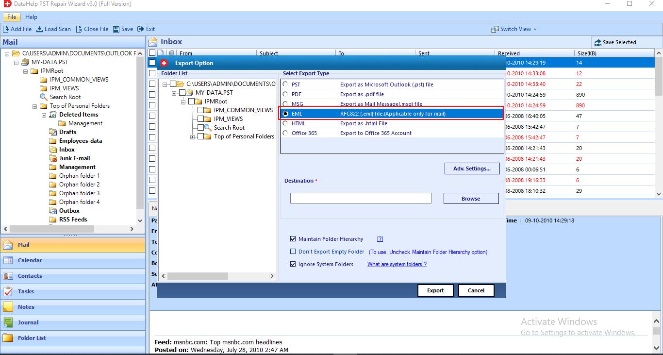 PST Repair Tool Recover Deleted PST File Items, Repair